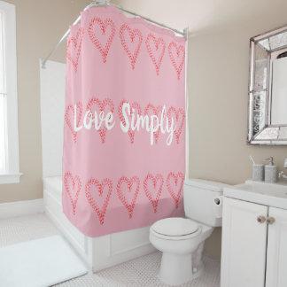 Rideau en douche simplement rose rouge d'amour de