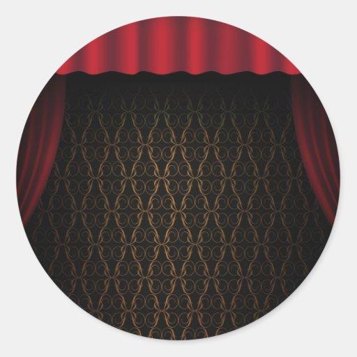 Rideau rouge sticker rond zazzle for Petit miroir rond a coller