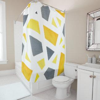 Rideaux De Douche Abrégé sur jaune gris géométrique