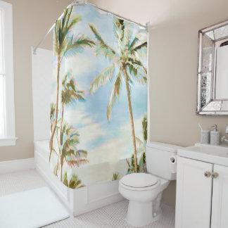 Rideaux De Douche Affects d'aquarelle de PixDezines/Hawaï/plage