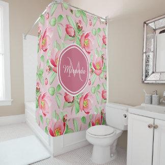 Rideaux De Douche Apple rose doux fleurissent floral avec le