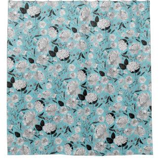 Rideaux De Douche Aquarelle noire et blanche vintage florale sur la