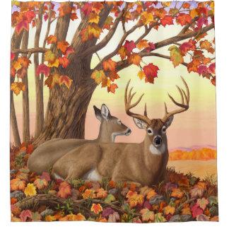 Rideaux De Douche Arbre d'érable d'automne de cerf de Virginie