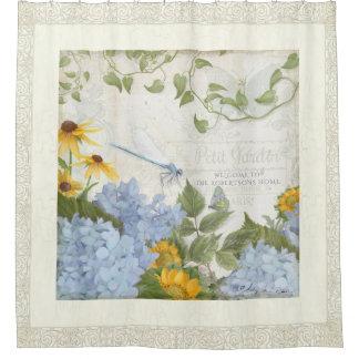 Rideaux De Douche Art floral vintage de libellule de ferme de décor
