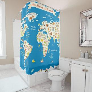 Rideaux De Douche Badine la carte du monde avec des animaux
