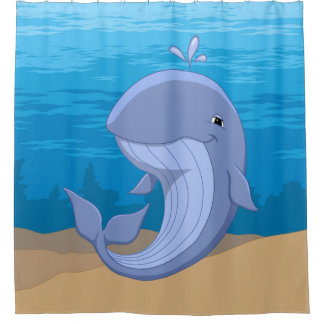 Rideaux De Douche Baleine bleue heureuse mignonne dans l'océan