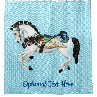 Rideaux De Douche Beau cheval blanc de carrousel