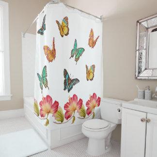 Rideaux De Douche Beaux papillons et ketmie rose colorée