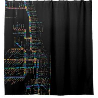 Rideaux De Douche Carte de souterrain de Chicago avec le COLORANT de