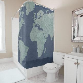 Rideaux De Douche Carte de toile bleue du monde