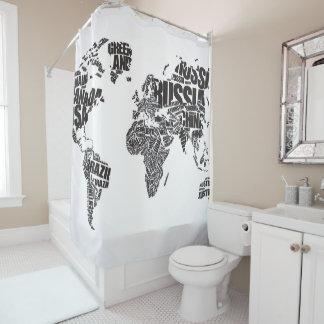 Rideaux De Douche Carte du monde dans la typographie