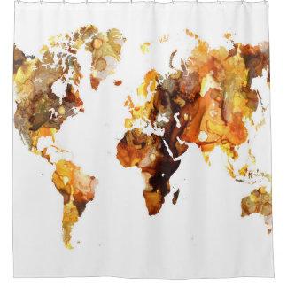 Rideaux De Douche Carte du monde de la conception 102