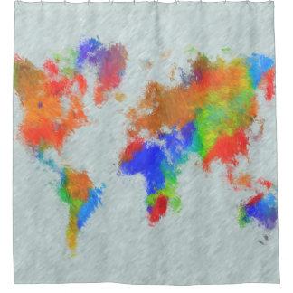 Rideaux De Douche Carte du monde de la conception 78
