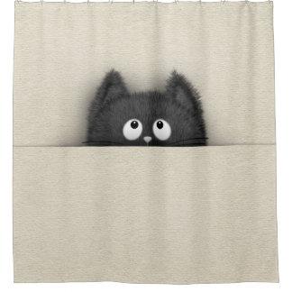 Rideaux De Douche Chat noir pelucheux mignon faisant une pointe