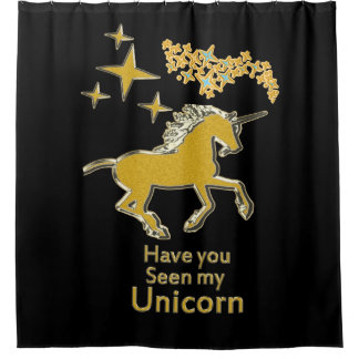 Rideaux De Douche Cheval de poney de licorne d'or avec les étoiles