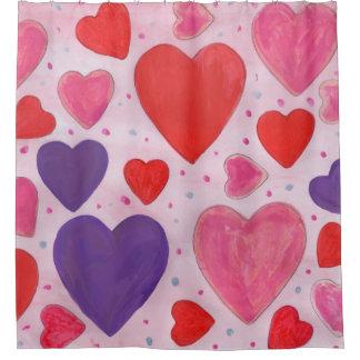 Rideaux De Douche Coeurs de Saint-Valentin en le rose, le pourpre et