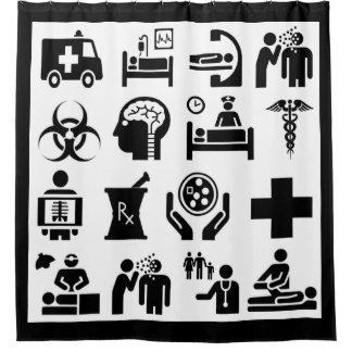 Rideaux De Douche Conception noire et blanche audacieuse d'icônes