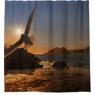 Rideaux De Douche coucher du soleil au dock