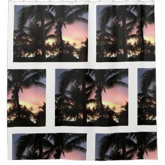 Rideaux De Douche Coucher du soleil de palmier