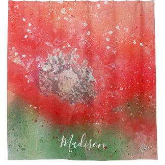 Rideaux De Douche Coutume moderne florale de pavot rouge chic
