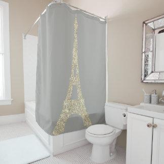 Rideaux De Douche Cristaux fascinants de gris d'or de Faux de Paris
