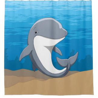 Rideaux De Douche Dauphin de Bottlenose heureux mignon dans l'océan