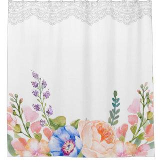 Rideaux De Douche Dentelle florale de ressort chic minable élégant