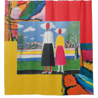 Rideaux De Douche Deux figures dans un paysage par Kazimir Malevich
