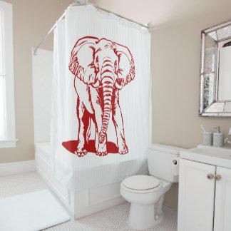 Rideaux De Douche Éléphant rouge et rayures blanches