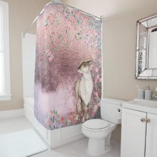Rideaux De Douche Fleurs de cerisier vintages brillantes roses de