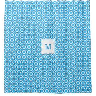 Rideaux De Douche Grande coutume bleue et blanche de points décorée