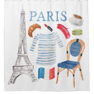 Rideaux De Douche Griffonnages français d'aquarelle de Paris