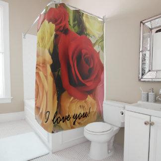 Rideaux De Douche Je t'aime copie romantique de roses