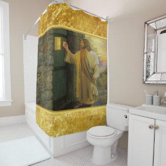 Rideaux De Douche Jésus à votre porte avec une conception de feuille