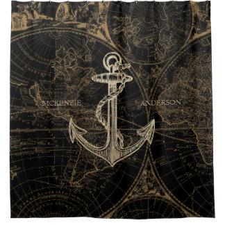 Rideaux De Douche L'ancre nautique de Vieux Monde ajoutent le noir