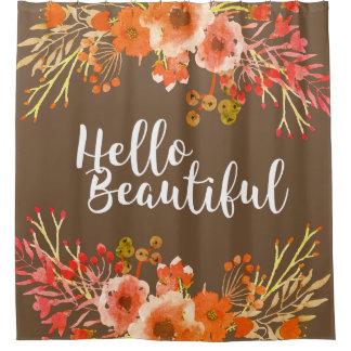 Rideaux De Douche L'aquarelle rustique fleurit bonjour le beau