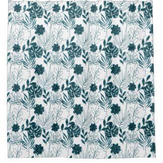 Rideaux De Douche Le blanc botanique tropical turquoise de Monstera