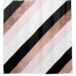 Rideaux De Douche Le noir moderne rougissent rayure géométrique d'or