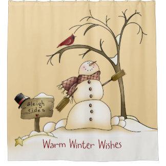 Rideaux De Douche L'hiver chaud souhaite à bonhomme de neige des