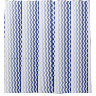 Rideaux De Douche Lignes onduleuses verticales bleues et blanches de