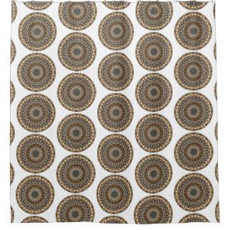 Rideaux De Douche Mandala rond de cailloux gris et beiges (copie