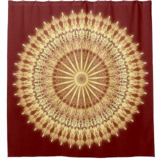 Rideaux De Douche Mandala rouge foncé d'or
