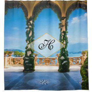 Rideaux De Douche Monogramme bleu d'or vert de photo élégante de