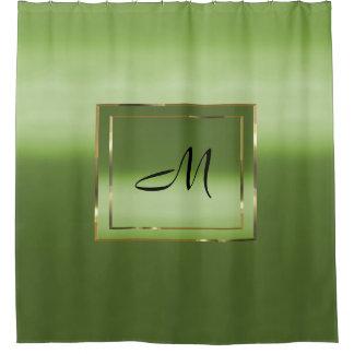 Rideaux De Douche Monogramme Chartreuse de boîte d'or de gradient de
