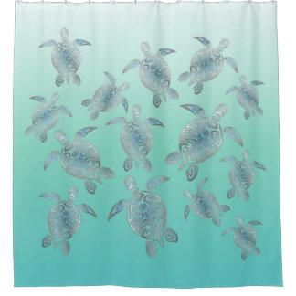 Rideaux De Douche Motif argenté de tortues de mer de turquoise