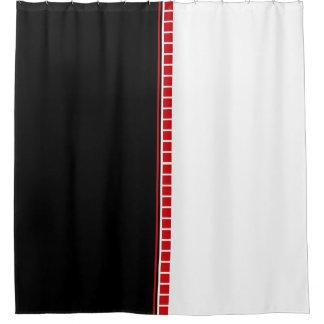 Rideaux De Douche Motif blanc et rouge noir abstrait audacieux