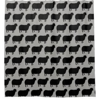 Rideaux De Douche Motif de silhouettes de moutons noirs