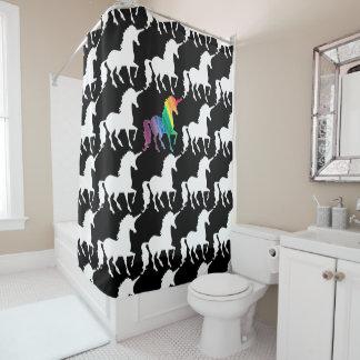 Rideaux De Douche Motif noir et blanc d'amusement d'arc-en-ciel de