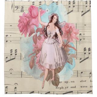 Rideaux De Douche Musique de danse féerique vintage de ballerine