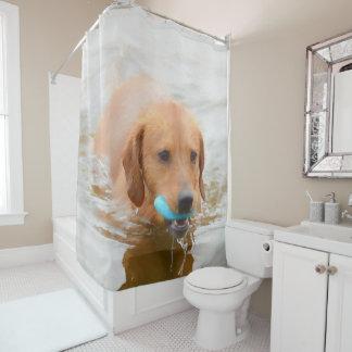 Rideaux De Douche Natation brun clair de chien dans l'eau